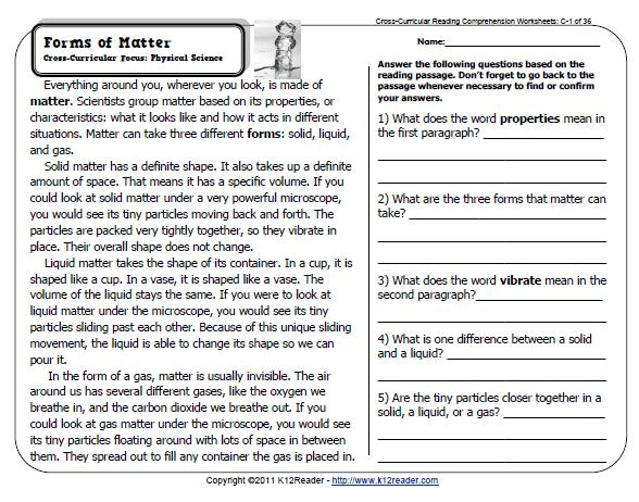 Collection Of Reading Comprehension Worksheets For Grade 4