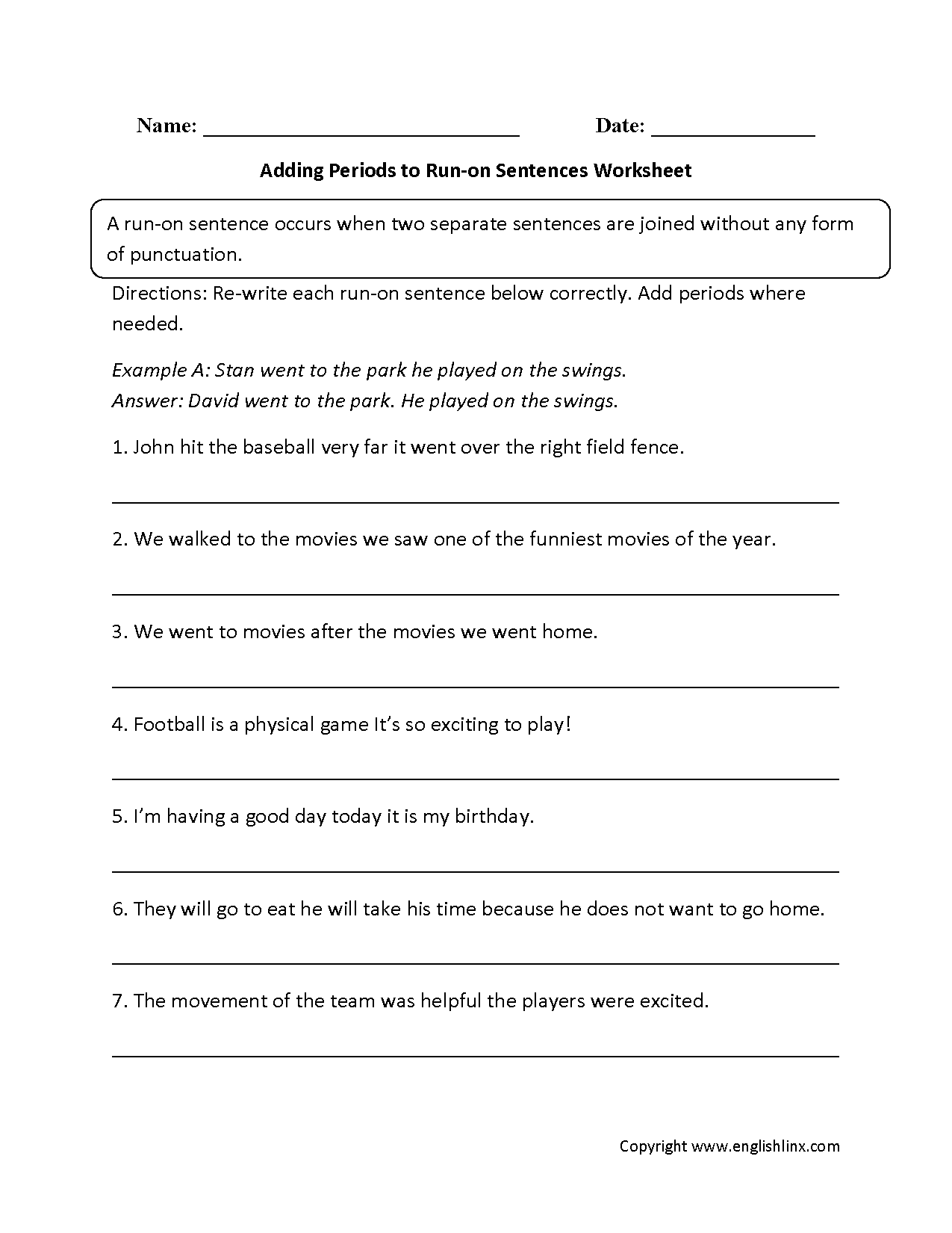 Collection Of Run On Sentence Worksheets