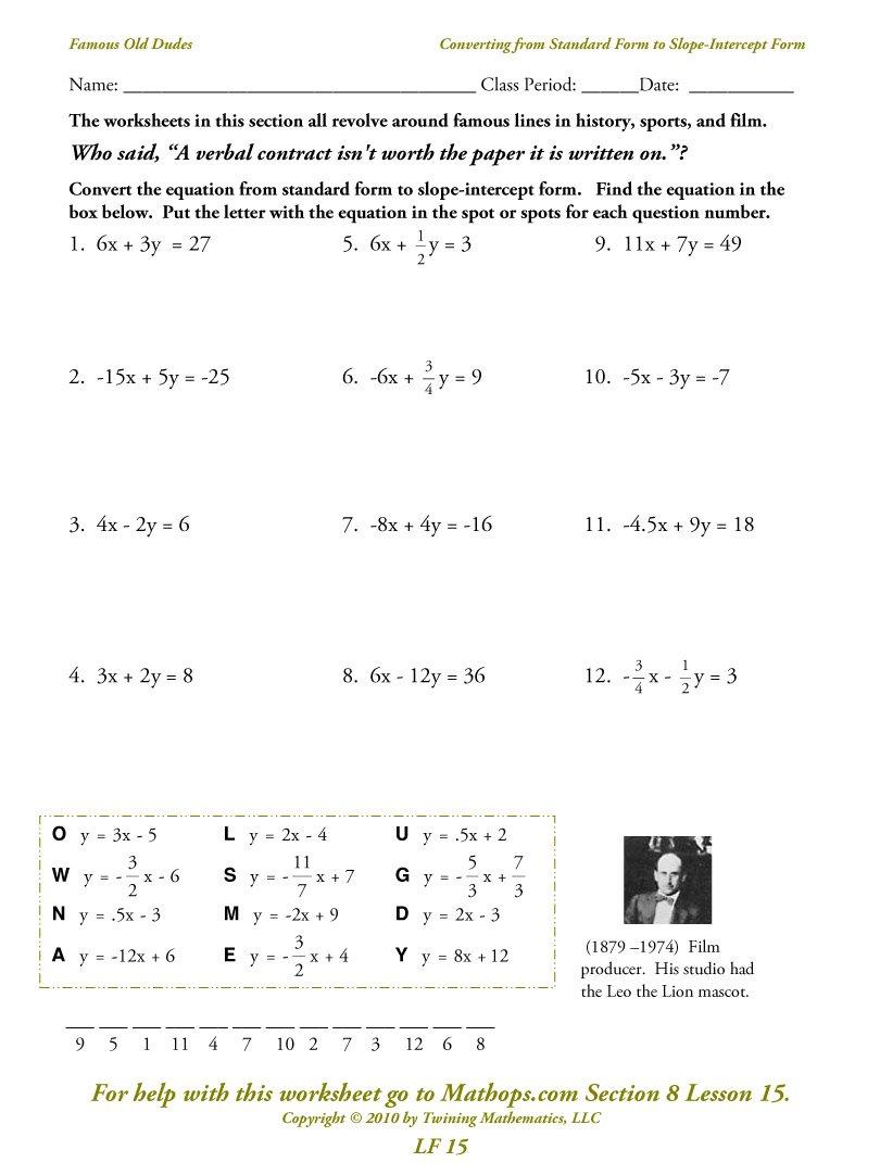 Collection Of Slope Intercept Form To Standard Form Worksheet Pdf