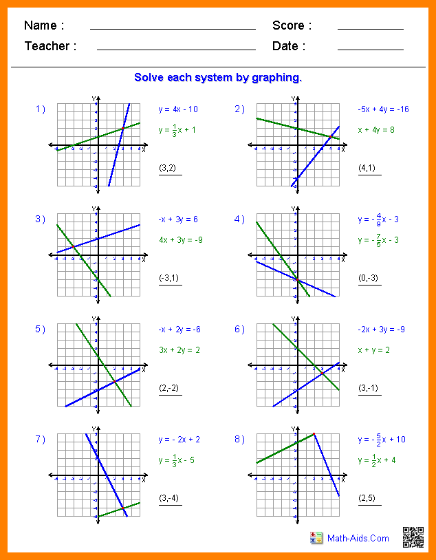 Collection Of Solving Systems Of Equations By Graphing Worksheet