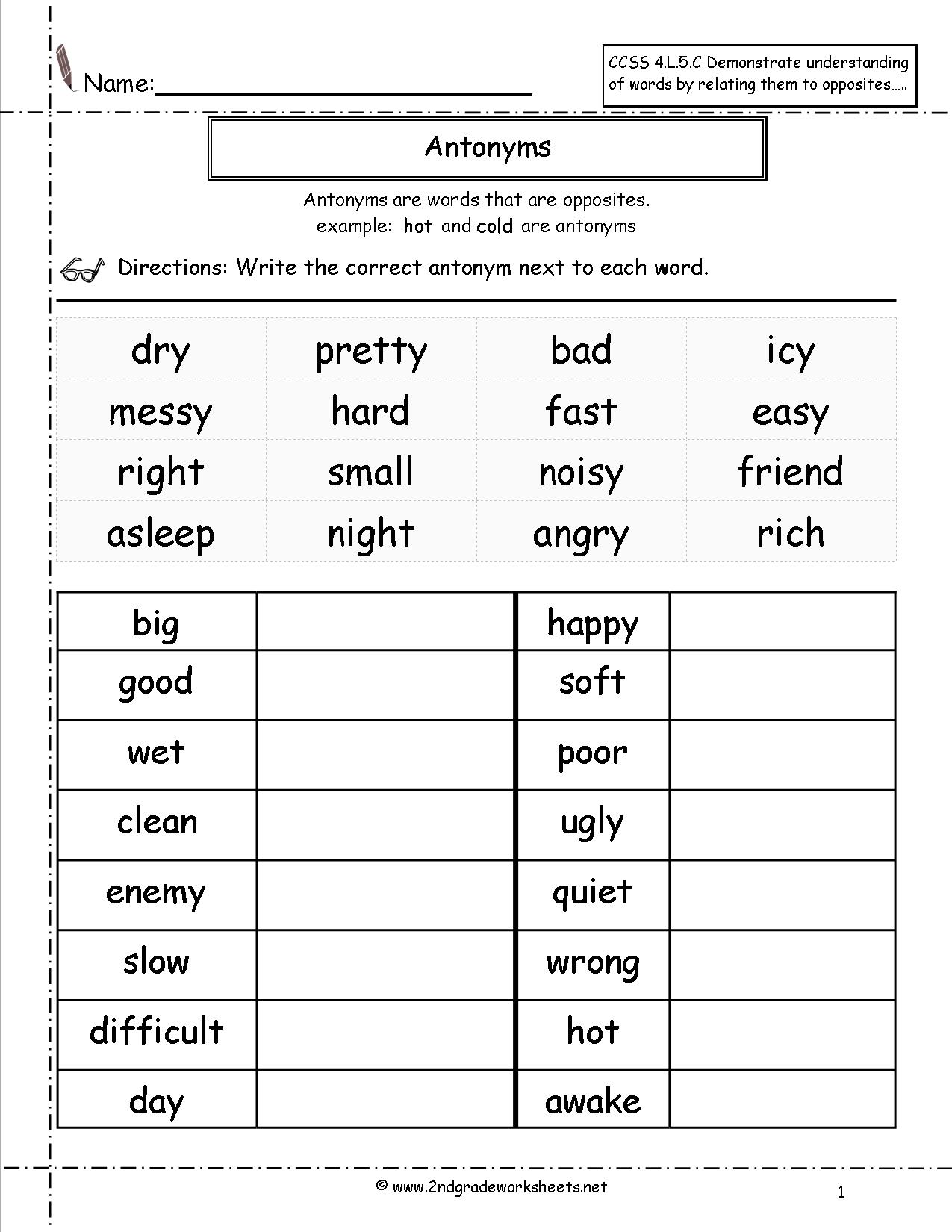 Collection Of Synonyms Worksheet 2nd Grade