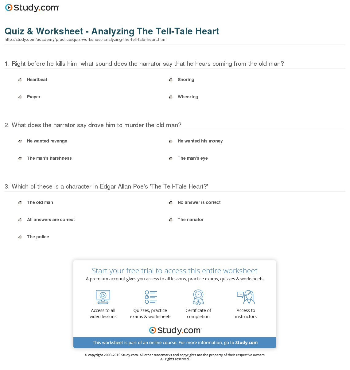Collection Of Tell Tale Heart Worksheets
