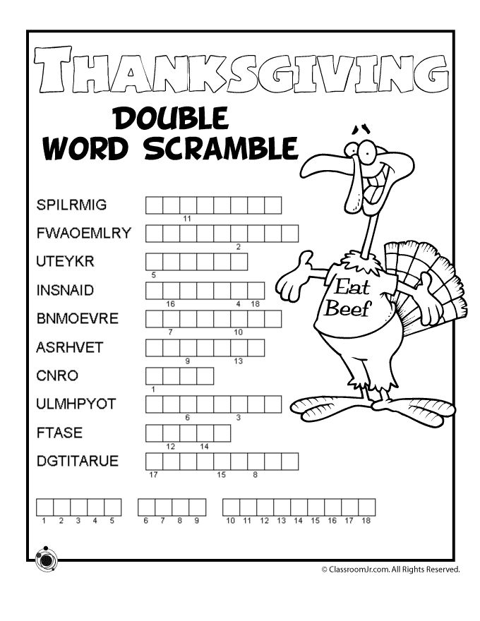 Collection Of Thanksgiving Math Worksheets For Junior High