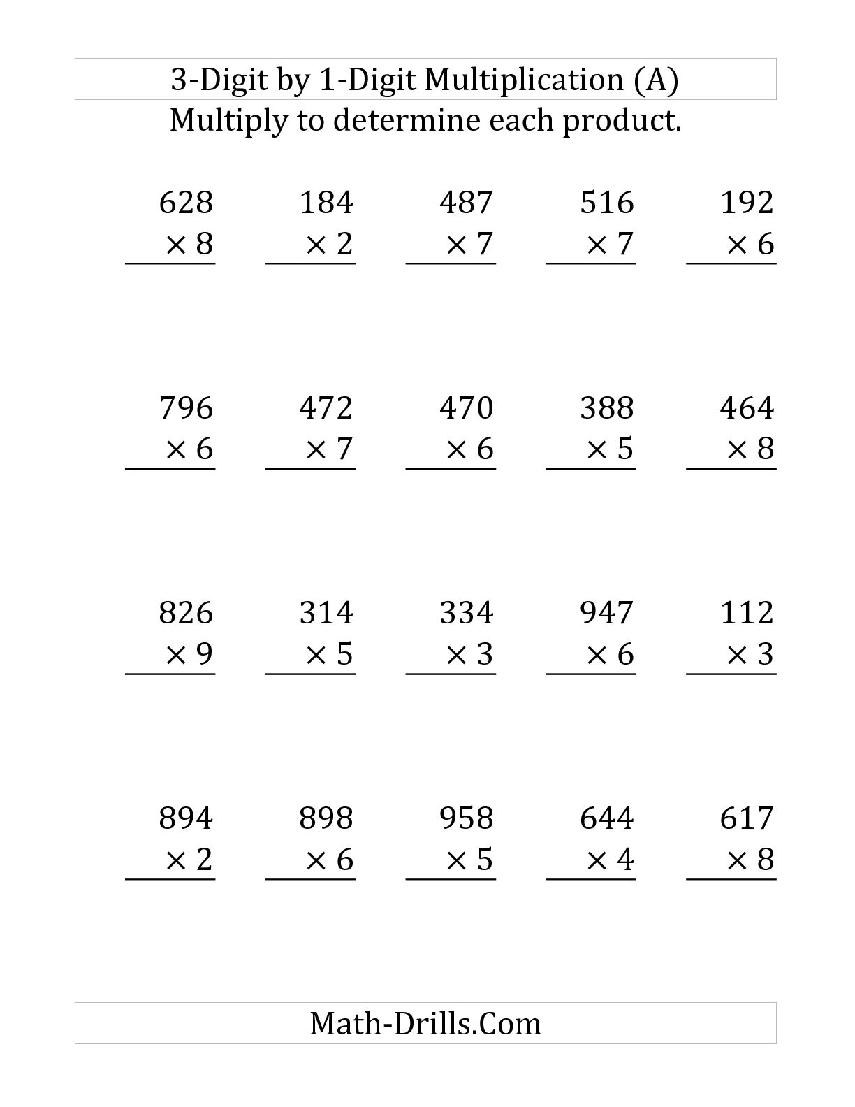 Collection Of Three Digit Multiplication Worksheets