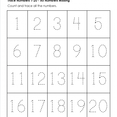 Collection Of Tracing Numbers 1 20 Worksheets For Kindergarten