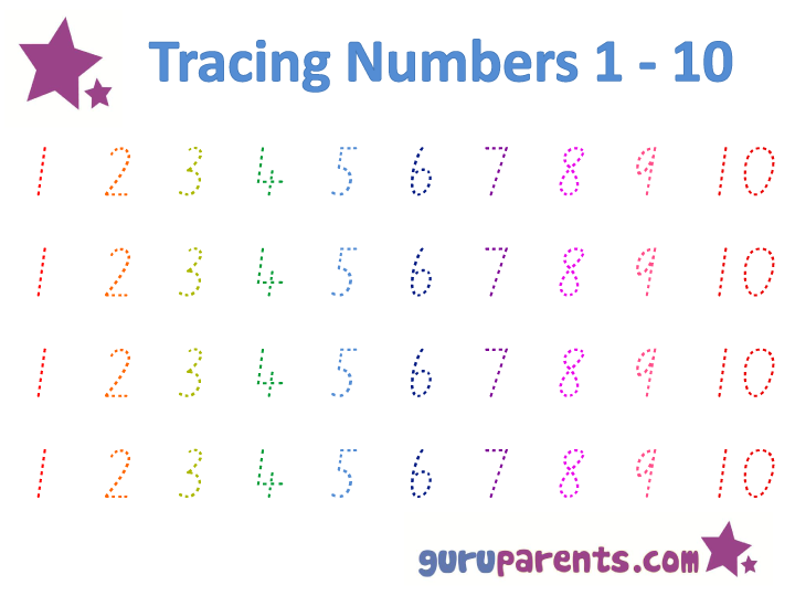 Collection Of Tracing Worksheets For Numbers 1 20