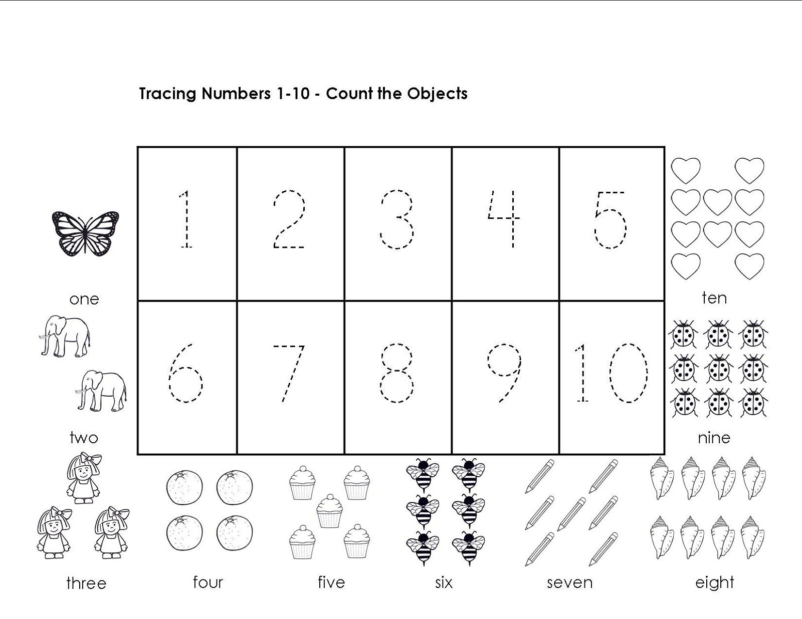 Collection Of Tracing Worksheets Numbers 1 10