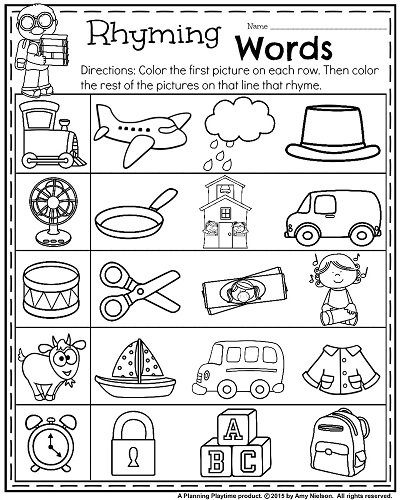 Collection Of Words That Rhyme Worksheets For Kindergarten