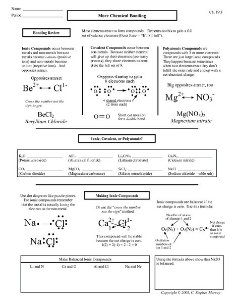 Collection Of Worksheet Chemical Bonding Answers