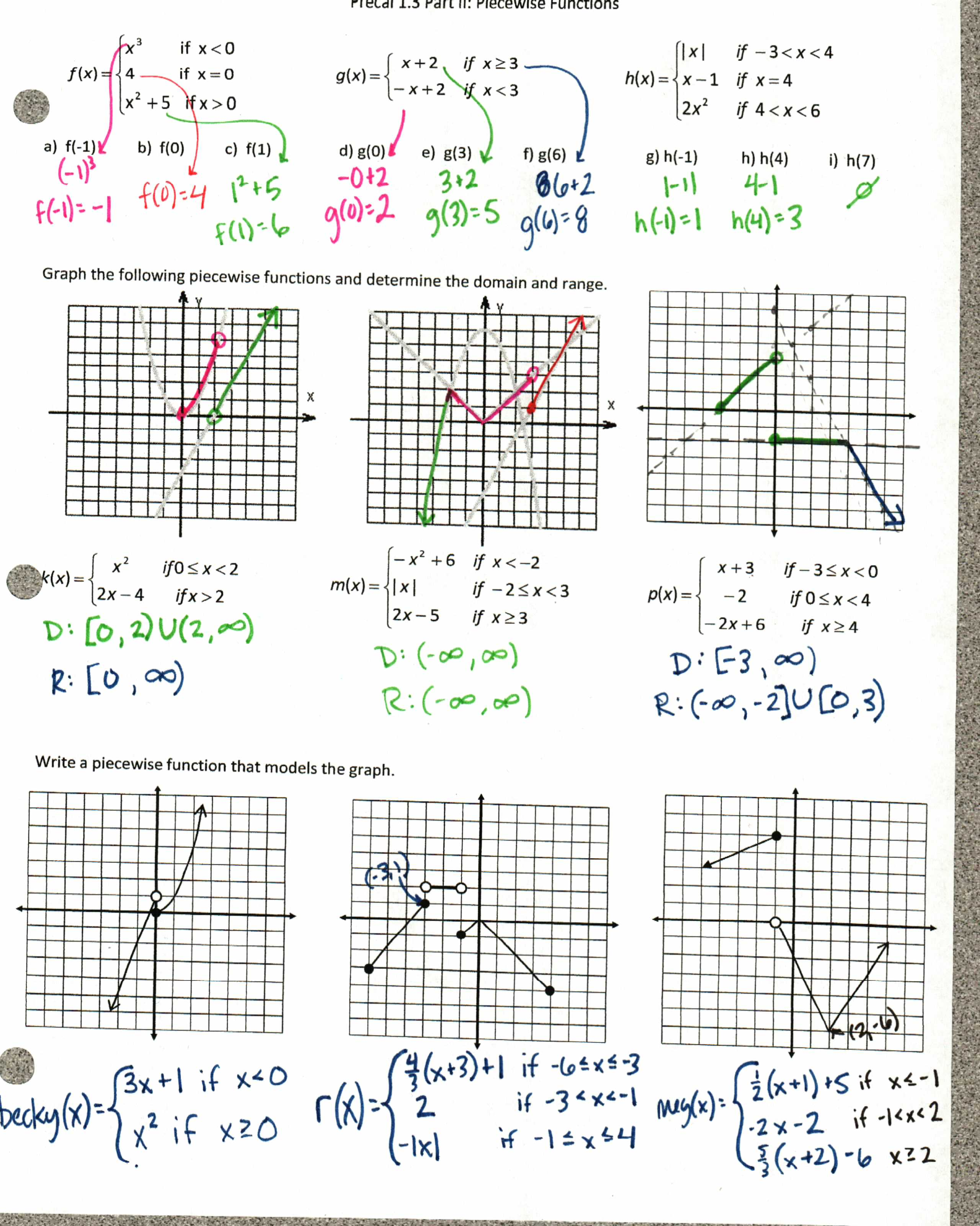 Collection Of Worksheet Piecewise Functions Algebra 2 Key
