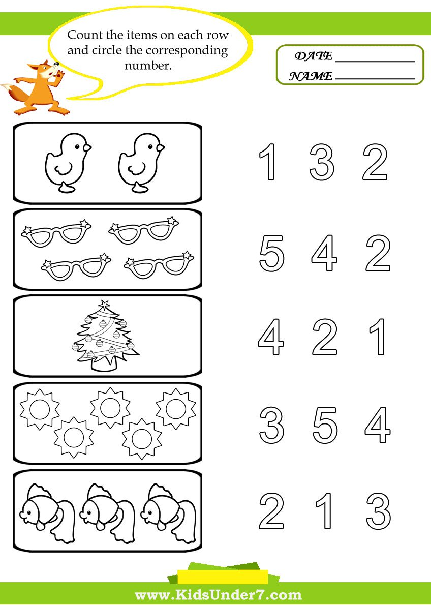 Collection Of Worksheets For Preschoolers Counting