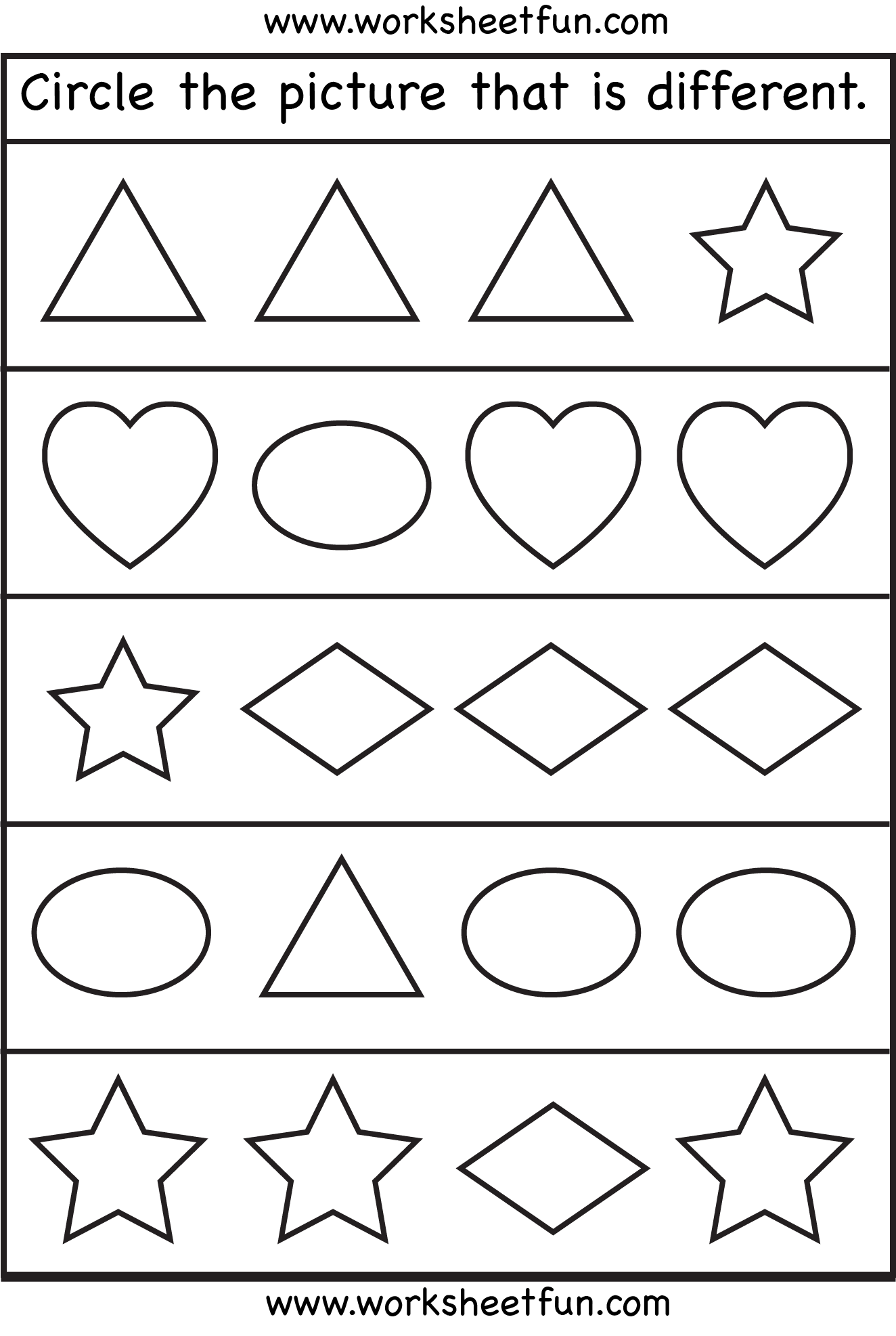 Collection Of Worksheets For Same And Different For Kindergarten