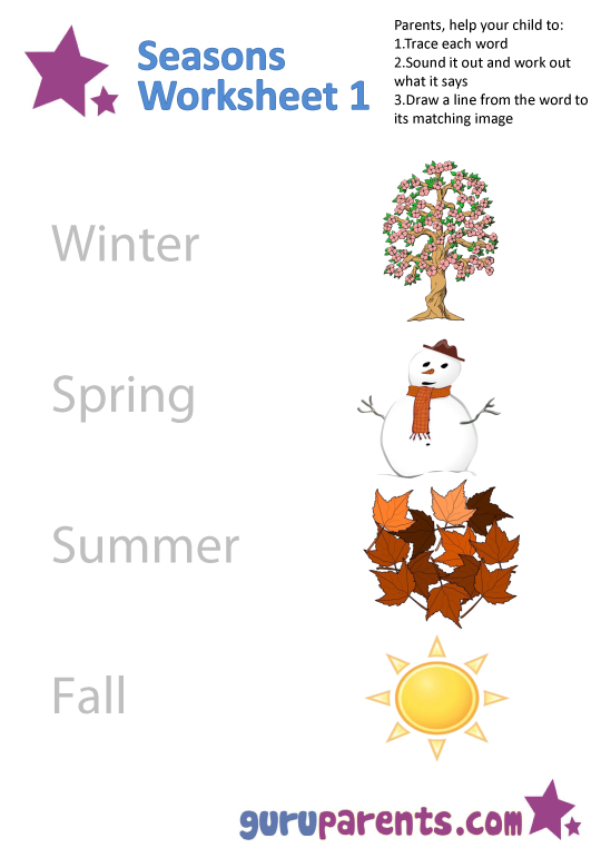 Collection Of Worksheets On The Seasons For Kindergarten