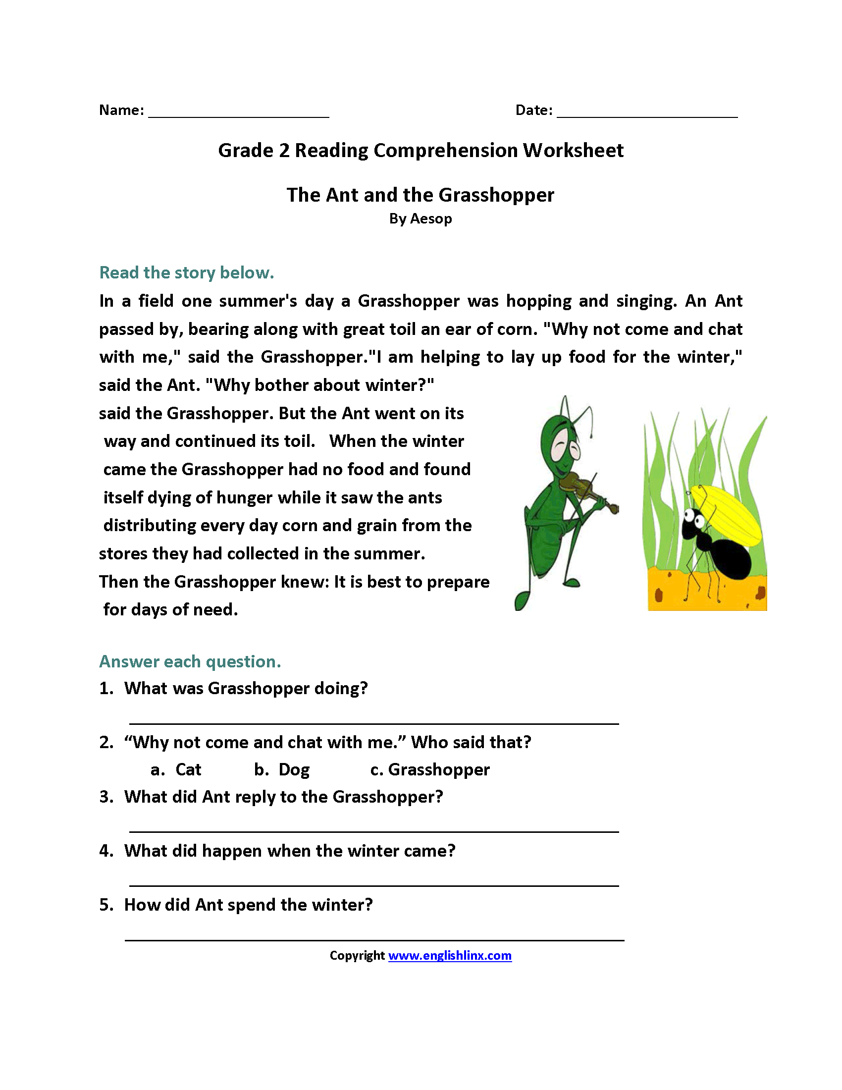 Collection Of Year 5 English Comprehension Worksheets Pdf