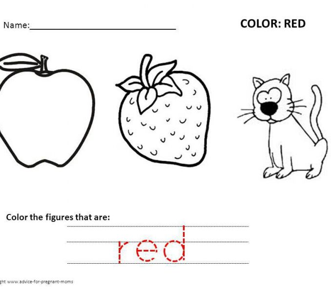 Color Red Worksheets Color Red Coloring Page Color Things That Are