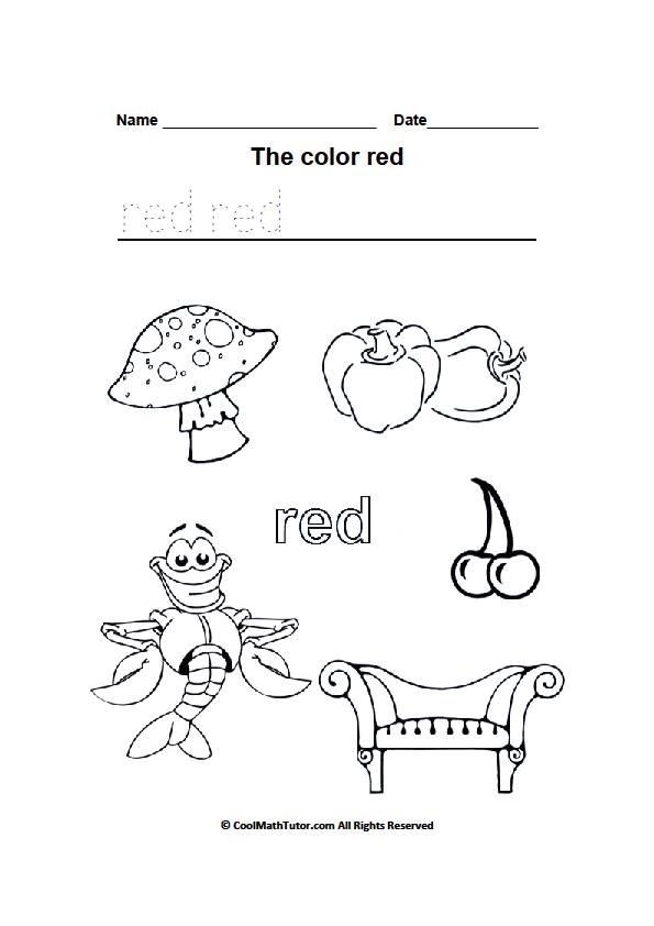 Color Red Worksheets Color Red Worksheets For Kindergarten Free
