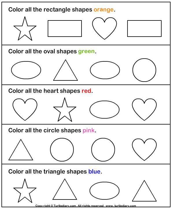 Color Shapes Worksheet Preschool 309868