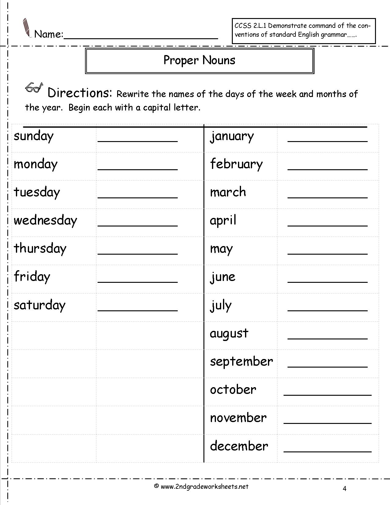 Common And Proper Noun Worksheets The Best Worksheets Image