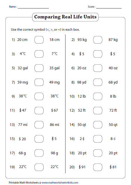 Comparing Numbers Worksheets Than Less Than Worksheets