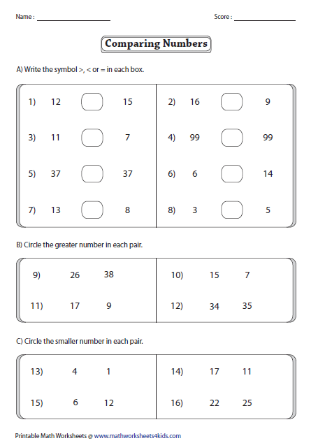 Comparing Numbers Worksheets Than Less Than Worksheets Free