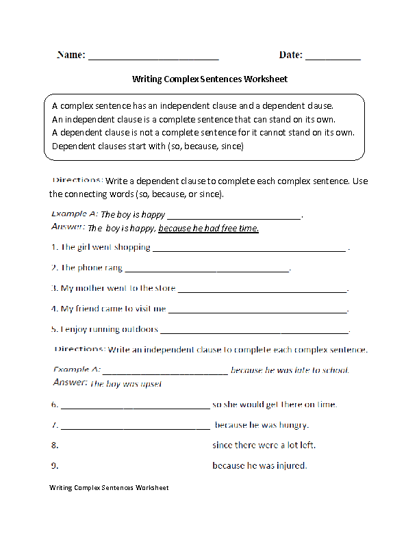 Compound And Complex Sentences Worksheet 936052
