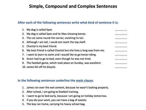 Compound Complex Sentences Worksheet Simple Compound And Complex
