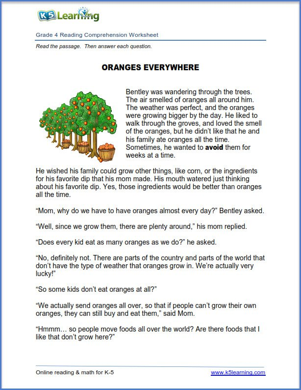 Comprehension Worksheets Grade 4 21704