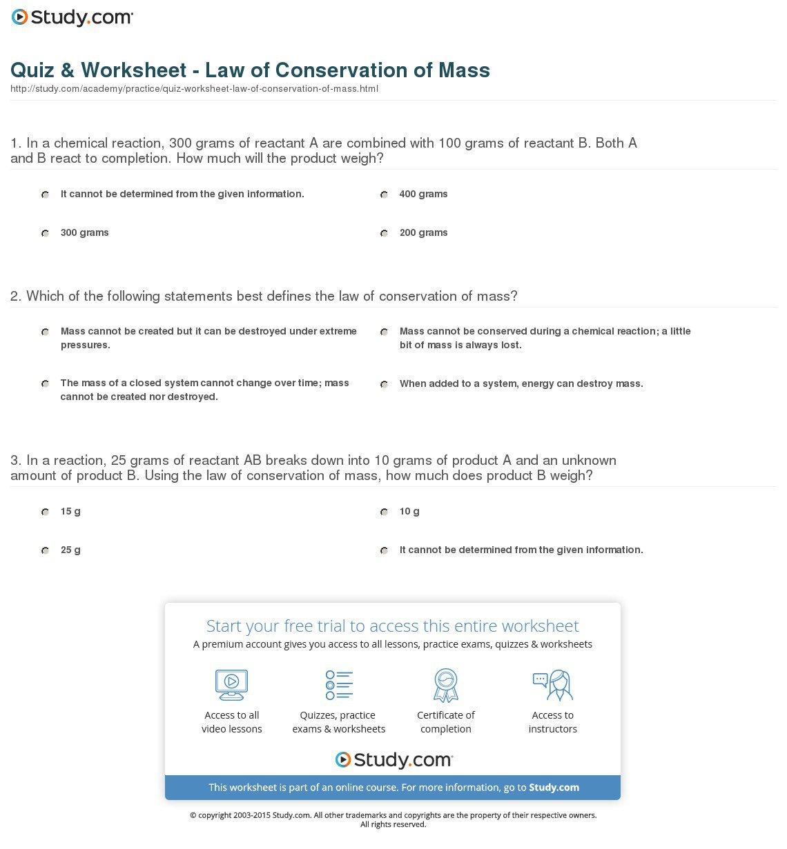 Conservation Of Mass Worksheet 172774