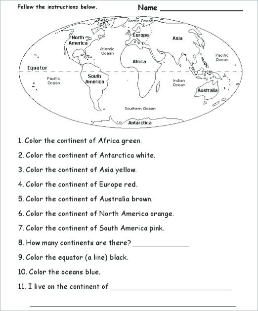 Continents And Oceans Worksheet Cut And Paste Lesson Plan Which