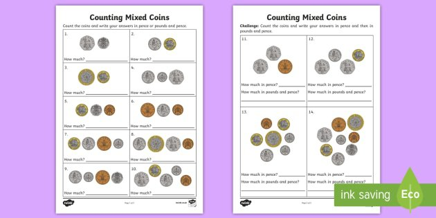 Counting Mixed Coins Worksheet   Activity Sheet