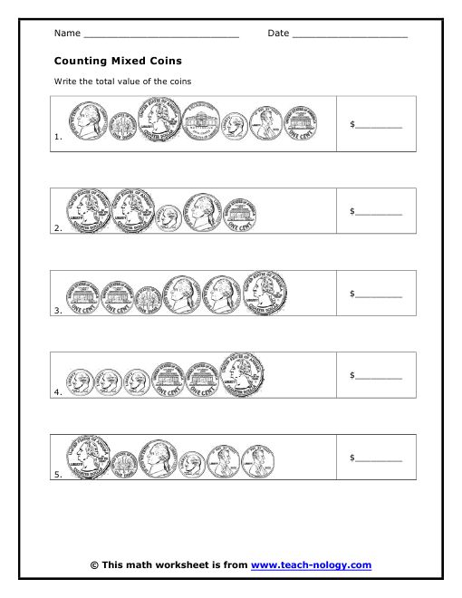 Counting Mixed Coins Worksheet The Best Worksheets Image
