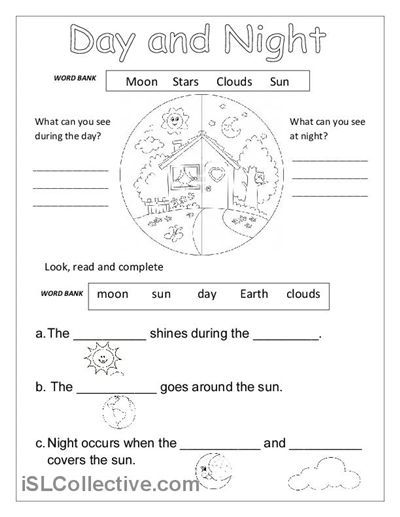 Day And Night Printable Worksheets For Kindergarten  1