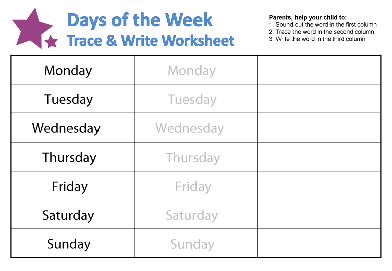 Days Of The Week Printable Worksheets 595305