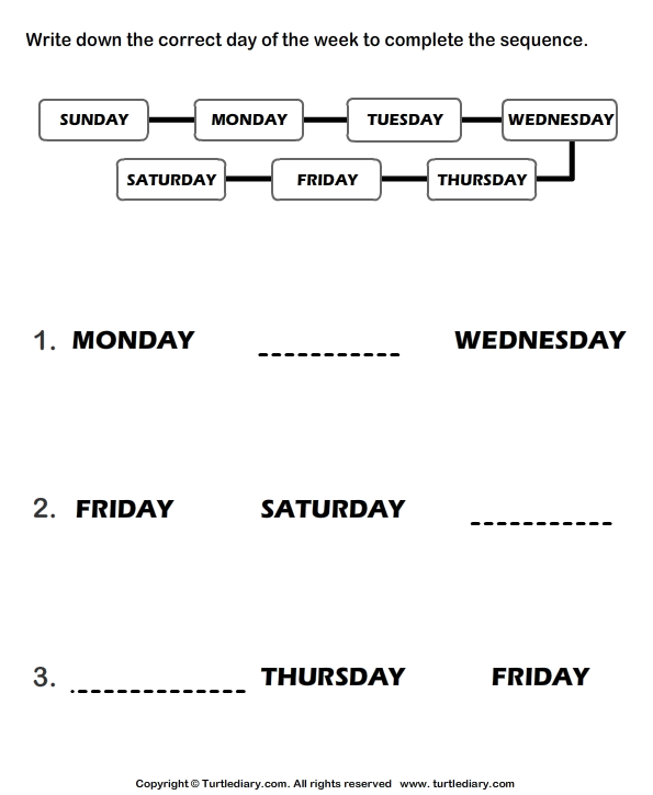 Days Of The Week Worksheets Complete The Sequence Of Days Of The