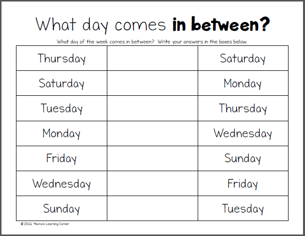 Days Of The Week Worksheets Days Of The Week Worksheets Mamas
