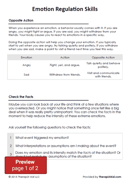 Dbt Emotion Regulation Skills (worksheet)