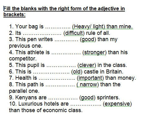 Degree Of Adjectives Worksheets The Best Worksheets Image