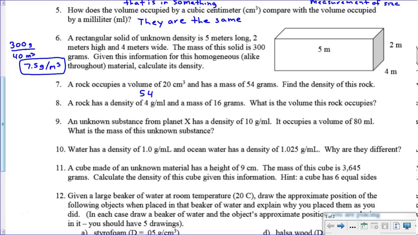 Density Mass Volume Worksheet Images