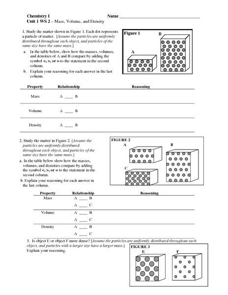 Density Worksheet Define Mass New Common Worksheets Density