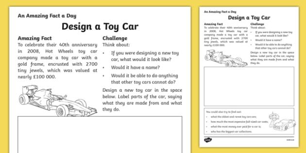Design A Toy Car Worksheet   Activity Sheet, Worksheet
