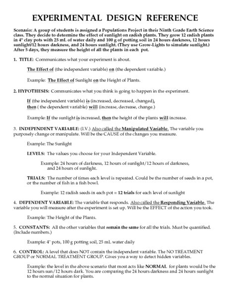 Design An Experiment Worksheet The Best Worksheets Image