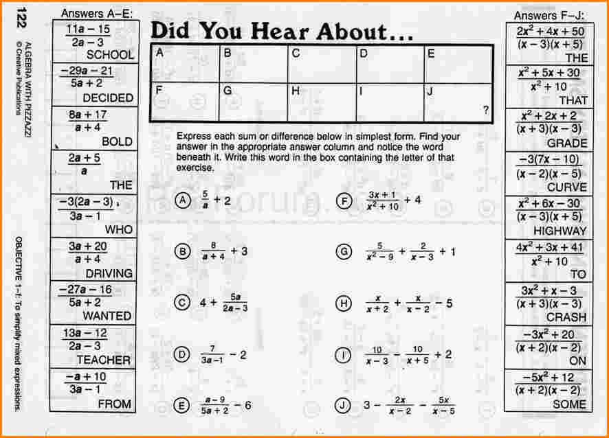 Did You Hear About Math Worksheet Answer Key Algebra With Pizzazz