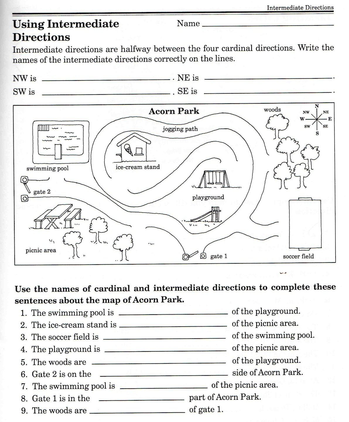Directions Activity Worksheet Images