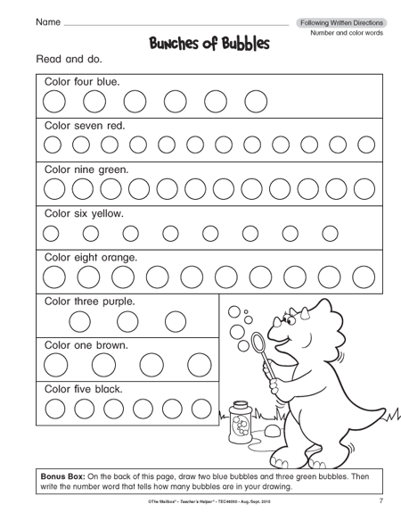 Directions Worksheets For Grade 1 – Free Worksheets Samples