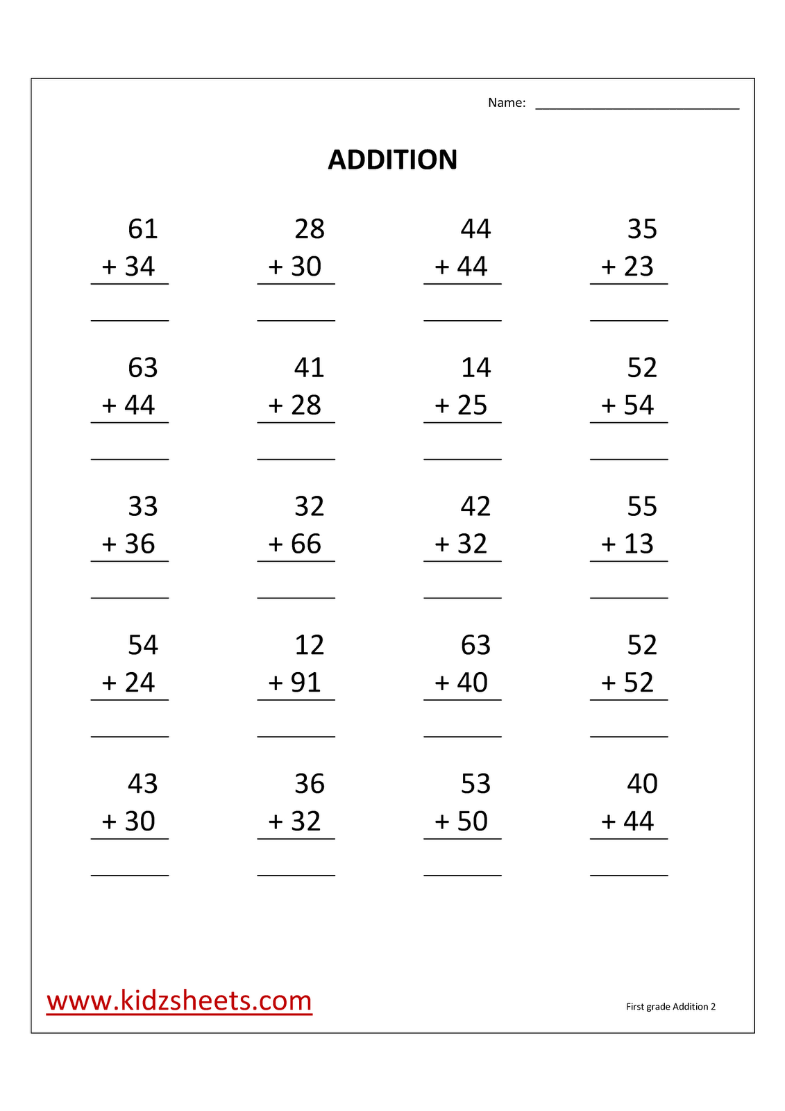Double Digit Math Worksheets 1st Grade New Free Double Digit