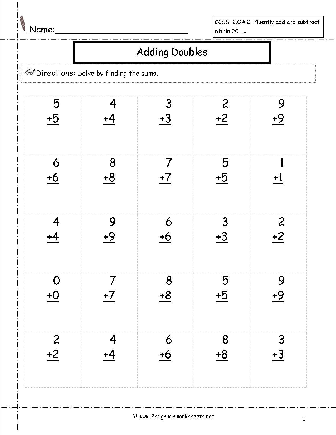 Doubles Math Fact Worksheets The Best Worksheets Image Collection