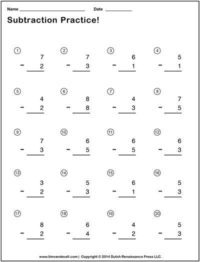 Easy Kindergarten Subtraction Worksheets 311896