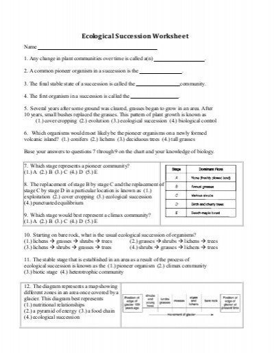 Ecological Succession Worksheet Answers Ecological Succession