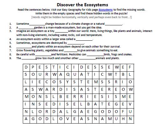 Ecosystems Worksheet
