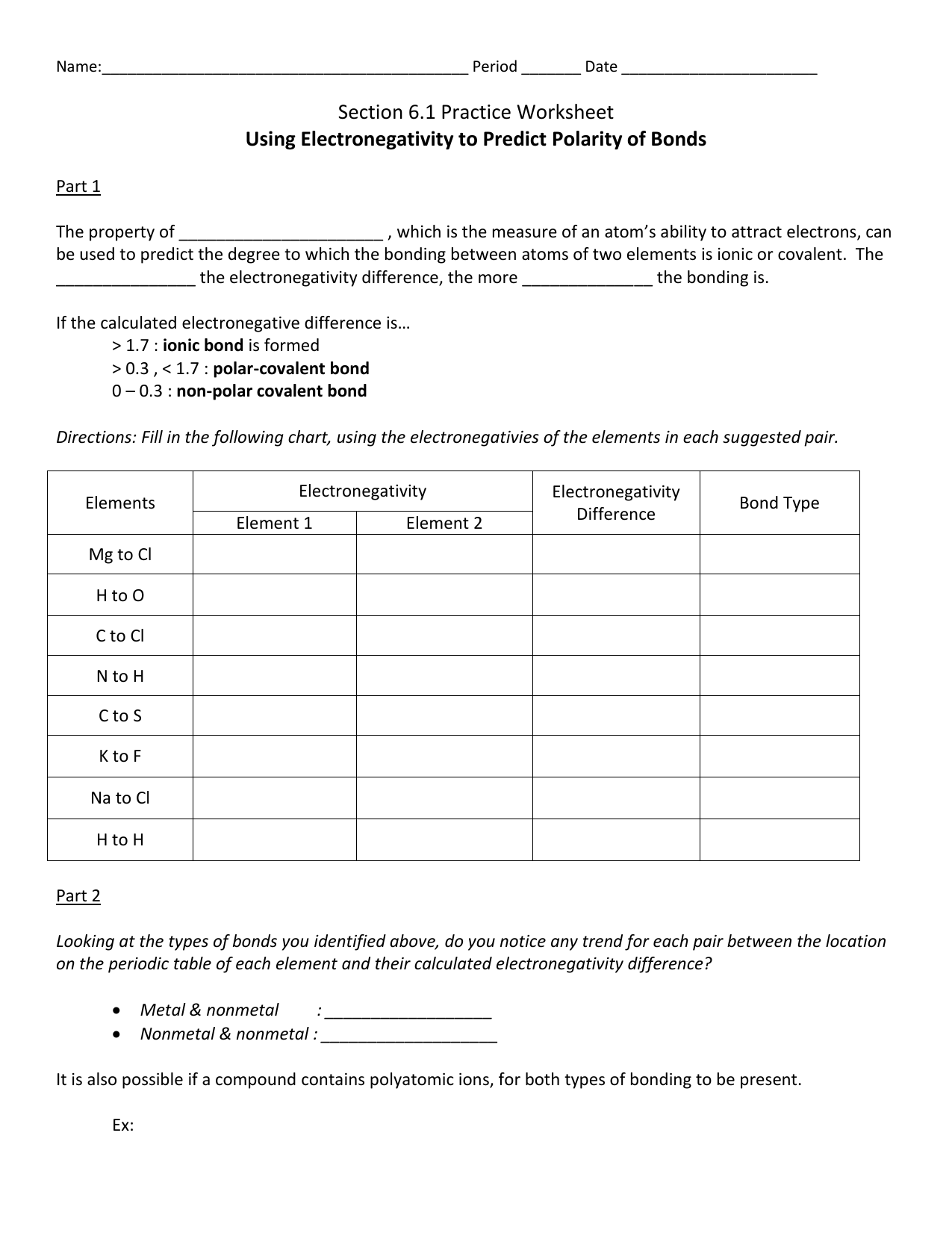 Electronegativity Worksheet The Best Worksheets Image Collection